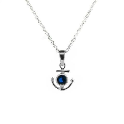 Outlander Inspired Anchor Silver Pendant With Sapphire Colour Stone